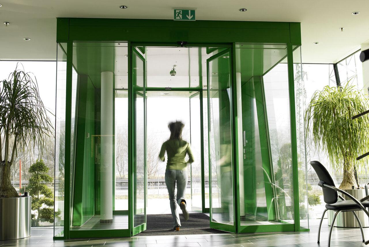 Description & automatic sliding door leaves open to allow escape